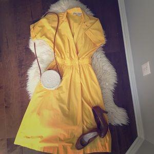 Vintage Rowie Shirt Waist Dress Bright Yellow Sz 6